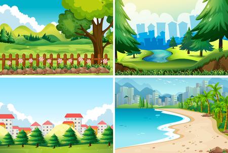 daytime: Four nature scene at daytime illustration