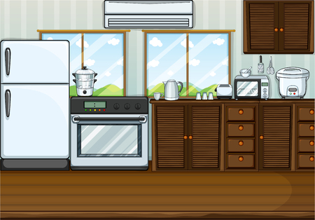 art background: Kitchen full with furnitures and equipments illustration Illustration