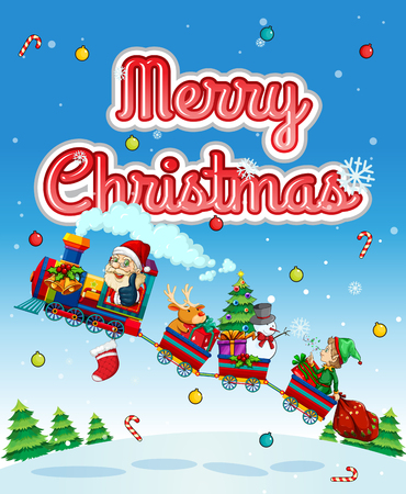 winter scene: Merry Christmas card with Santa on train illustration