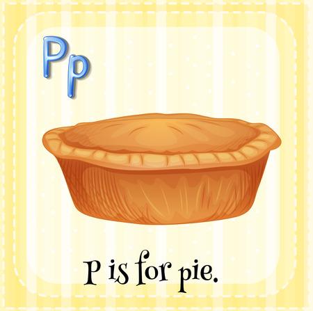 p illustration: Flashcard letter P is for pie illustration