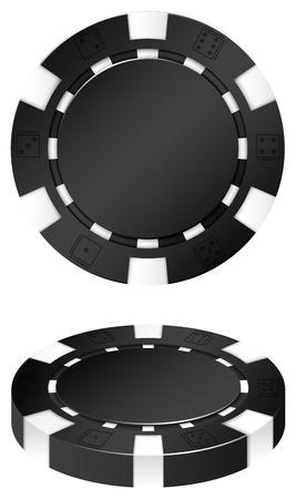 casino chips: Two black casino chips illustration