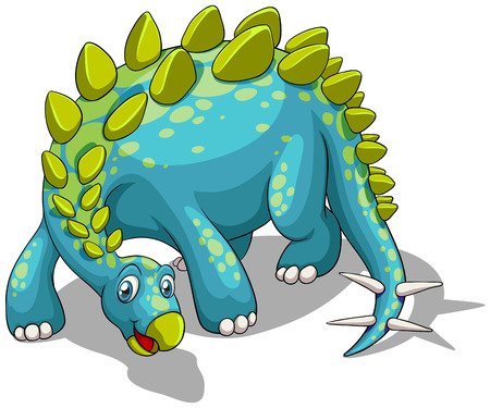 spikes: Blue dinosaur with spikes tail illustration