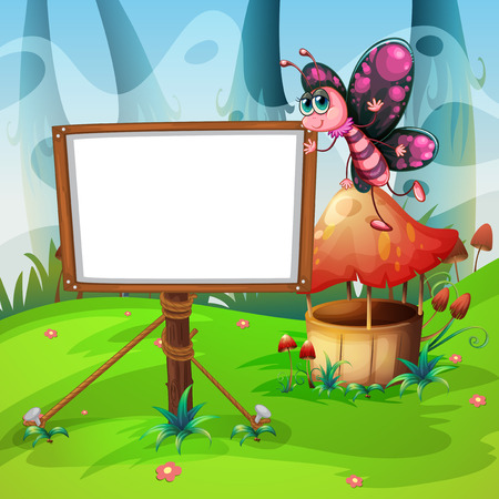 butterfly flying: Butterfly flying and whiteboard illustration