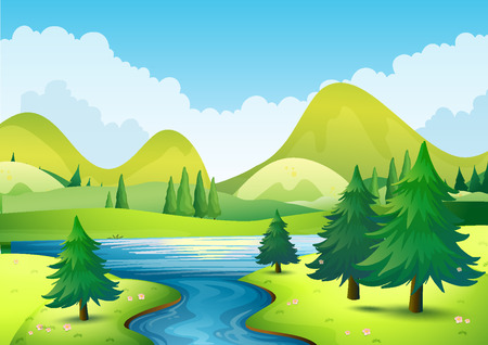 green river: Nature scene with river and hills illustration