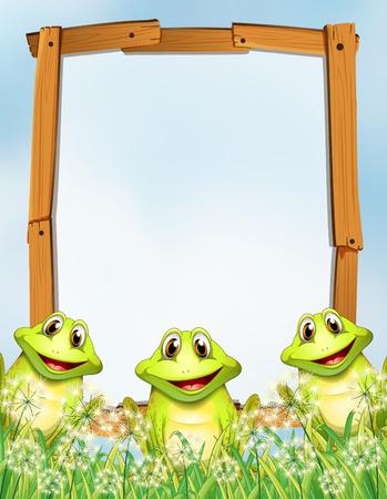 wooden frame: Wooden frame with frogs background illustration Illustration