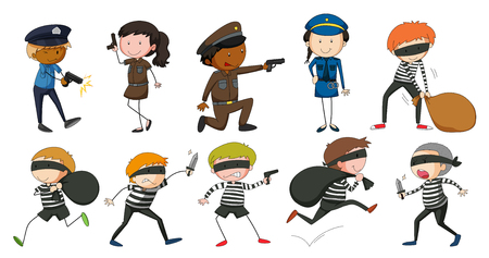 drawing safety: Policeman and robbers in different actions illustration