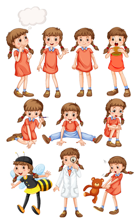 Little girl doing different activities illustration