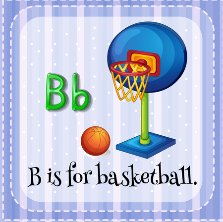 hoop: Flashcard letter B is for basketball illustration
