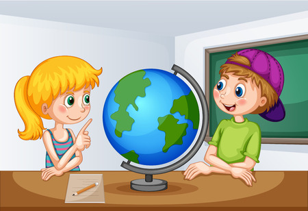 geography: Boy and girl studying geography illustration Illustration