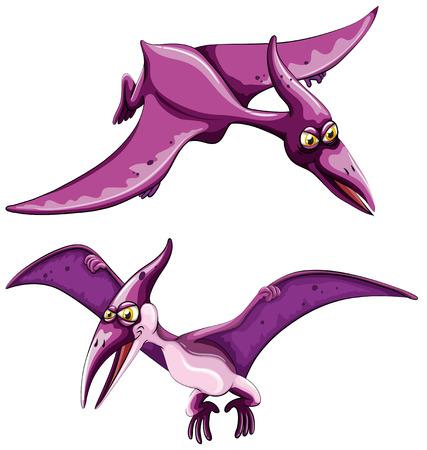 pterosaur: Purple pterosaur flying in the sky illustration
