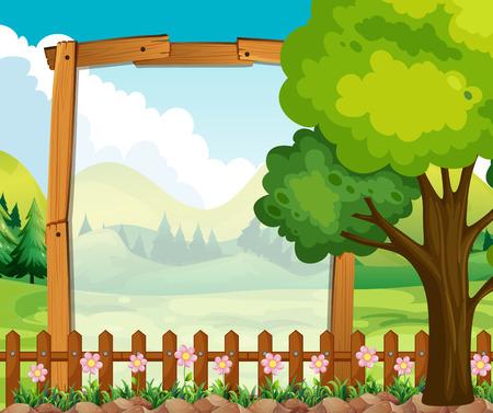wooden frame: Wooden frame with nature background illustration