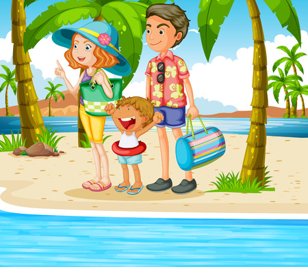 trip: Family trip to the beach illustration