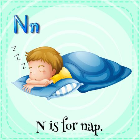 wort: Flash Buchstaben N ist für Nickerchen Illustration