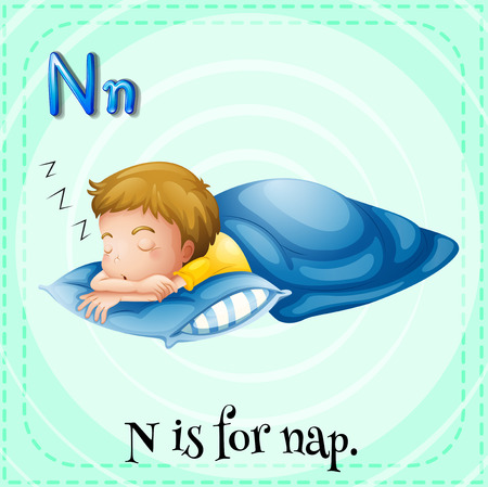 cartoon words: Flashcard letter N is for nap illustration
