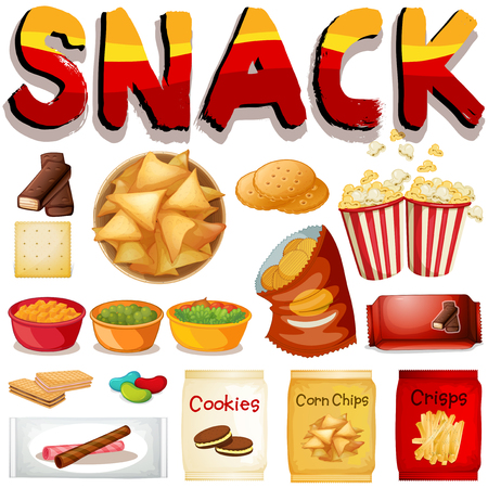 bag cartoon: Different kind of snack illustration