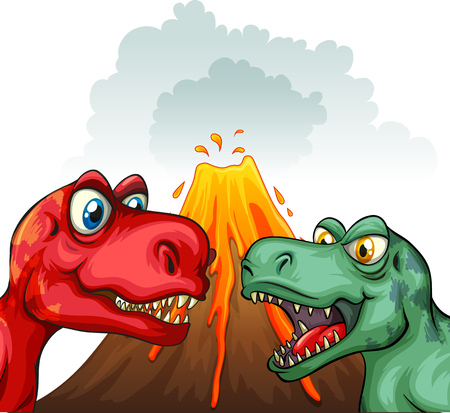 prehistoric age: Two T-Rex fighting each other illustration