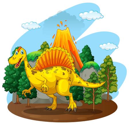 숲 속에 사는 공룡 일러스트 일러스트