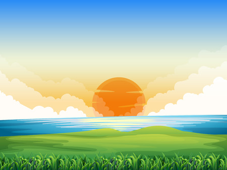 field: Nature scene with sunset  illustration