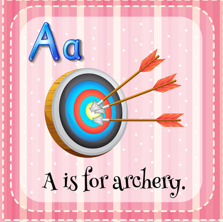 writing letter: Flashcard letter A is for archery illustration