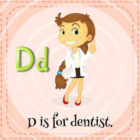 letter alphabet pictures: Flashcard letter D is for dentist illustration Illustration