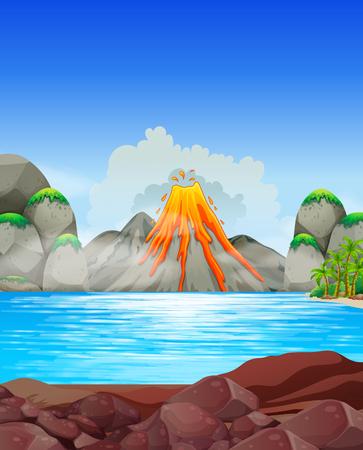 sea disaster: Volcano eruption at the lake illustration