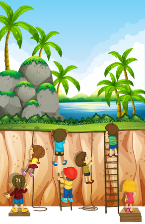 climbing ladder: Boys and girls climbing mountain illustration
