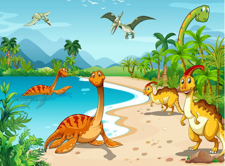 Dinosaurs living on the beach illustration Ilustração