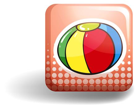 square image: Beach ball on square badge illustration