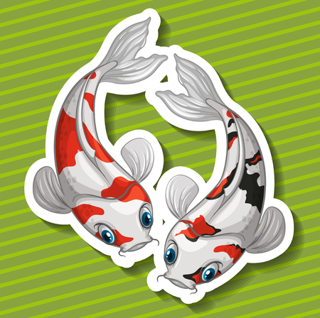 koi fish art: Two kois fish swimming illustration