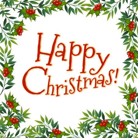 chrismas card: Happy Chrismas card with mistletoe illustration Illustration