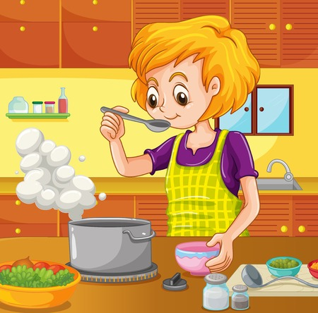 cooking: Woman cooking in the kitchen illustration