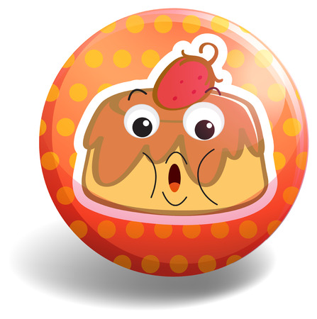 custard: Custard cake on orange badge illustration