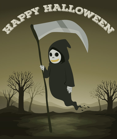 scary halloween: Halloween theme with ghost illustration Illustration