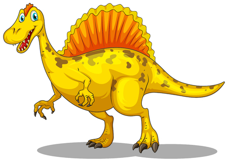 the claws: Yellow dinosaur with sharp claws illustration