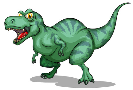 tyrannosaurus: Green tyrannosaurus rex with sharp teeth illustration Illustration