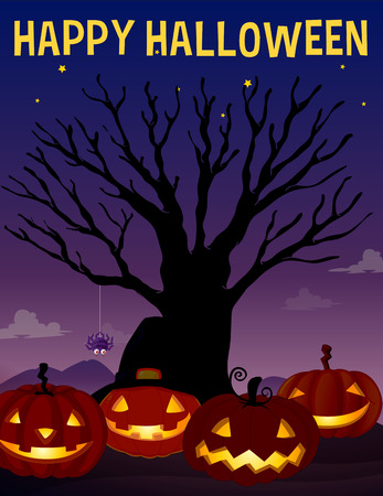 graphic backgrounds: Halloween theme with tree and pumpkins illustration