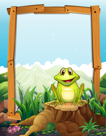 Green frog by the wooden frame illustration