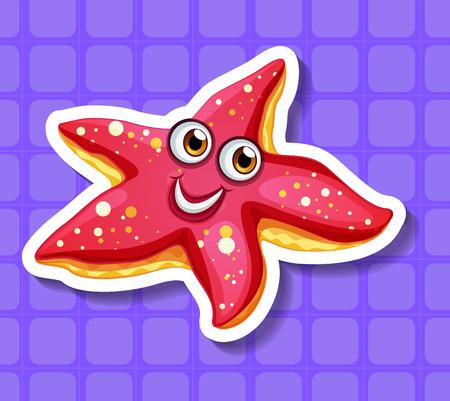 cara de alegria: Estrellas de mar con la cara feliz ilustraci�n