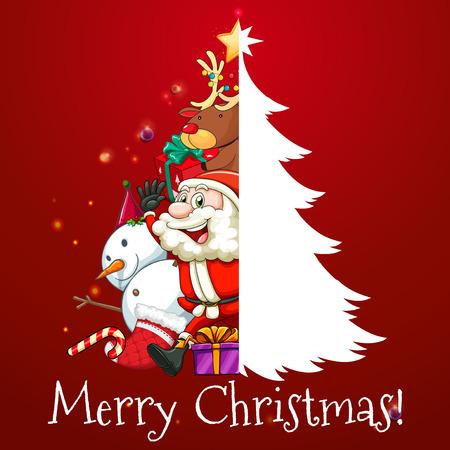 arbol de pino: Tema de Navidad con Santa y árbol de la ilustración