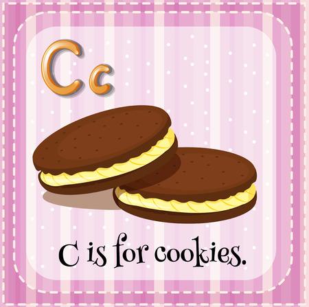 school illustration: Flashcard letter C is for cookies illustration