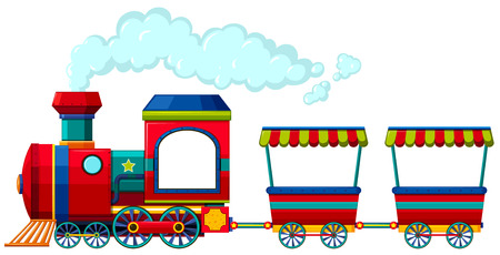 Red train with two carriages illustration