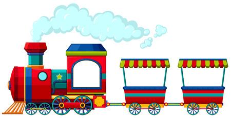 locomotora: Tren rojo con dos carros ilustración Vectores