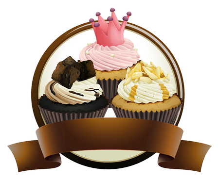 brownie: Cupcakes with brown banner illustration