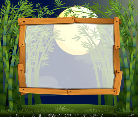 bamboo border: Border design with bamboo forest at night illustration Illustration