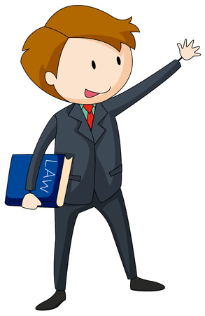 clip art people: Lawyer in suit carrying a law book illustration