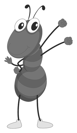 creature: Little ant having arms up illustration Illustration