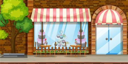 bakery store: Street scene with bakery shop illustration