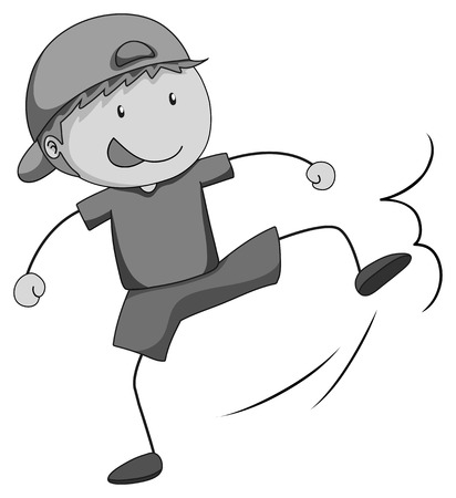 bad boy: Bully boy kicking something illustration Illustration