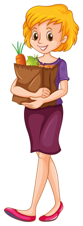 grocery bag: Woman carrying a grocery bag illustration