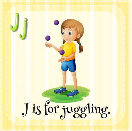 a word: Flashcard letter J is for juggling illustration Illustration